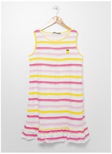 Limon Company Limon Renkli Çizgili Bisiklet Yaka Kız Çocuk Elbise Ekru